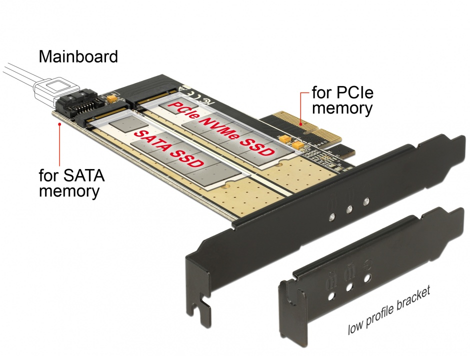 Imagine PCI Express la 1 slot M.2 Key B + 1 slot NVMe M.2 Key M, Delock 89630