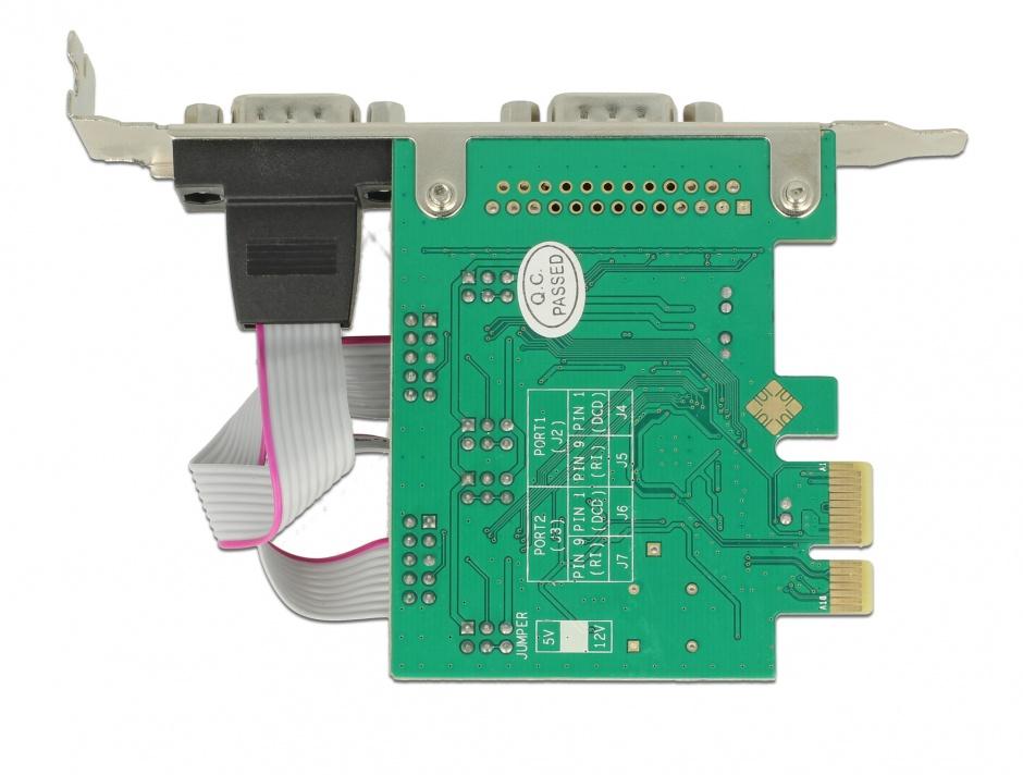Imagine PCI Express la 2 x Serial RS-232 high speed 921K cu voltage supply, Delock 89641
