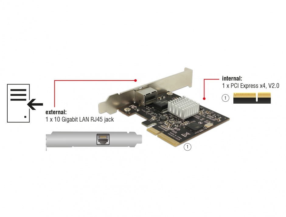 Imagine PCI Express la 1 x 10 Gigabit LAN NBASE-T RJ45, Delock 89654