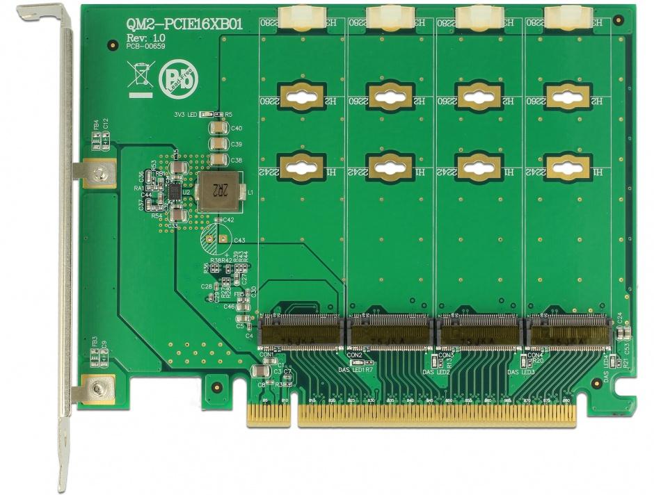 Imagine PCI Express la 4 x NVMe M.2 Key M - Bifurcation, Delock 89835