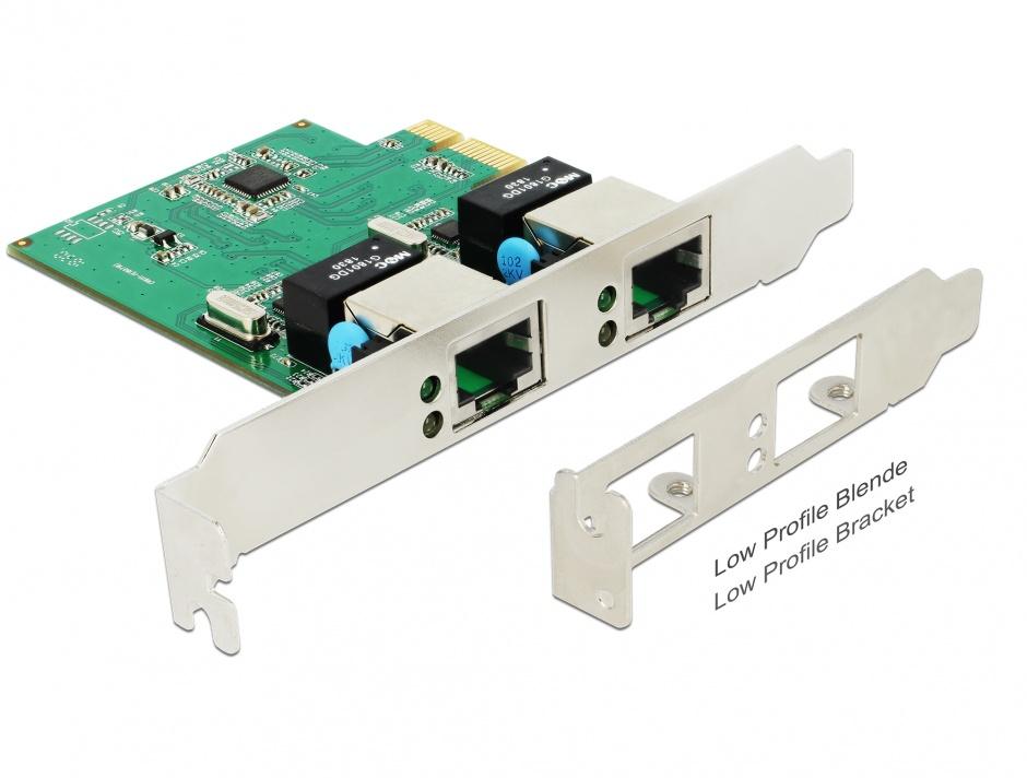 Imagine PCI Express cu 2 x Gigabit LAN, Delock 89999