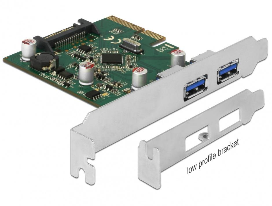Imagine PCI Express la 2 porturi USB 3.1-A Gen 2, Delock 90298
