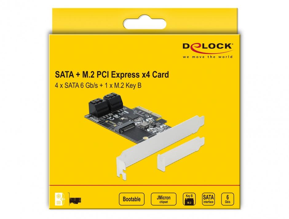 Imagine PCI Express 4 porturi SATA + 1 x M.2 Key B, Delock 90396