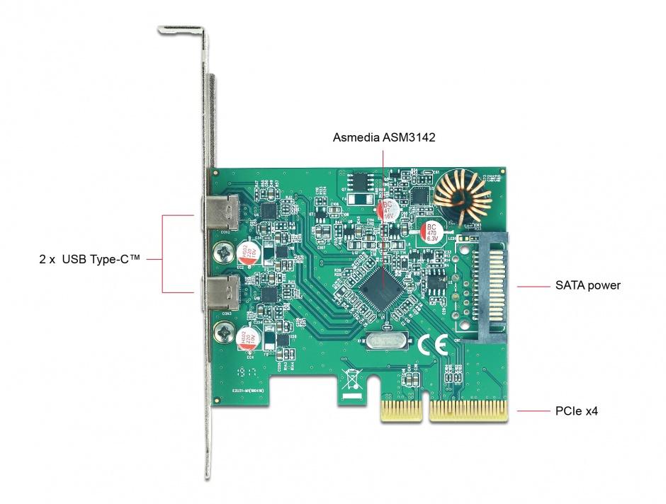 Imagine PCI Express cu 2 x SuperSpeed USB 10 Gbps (USB 3.1 Gen 2) USB-C, Delock 90397