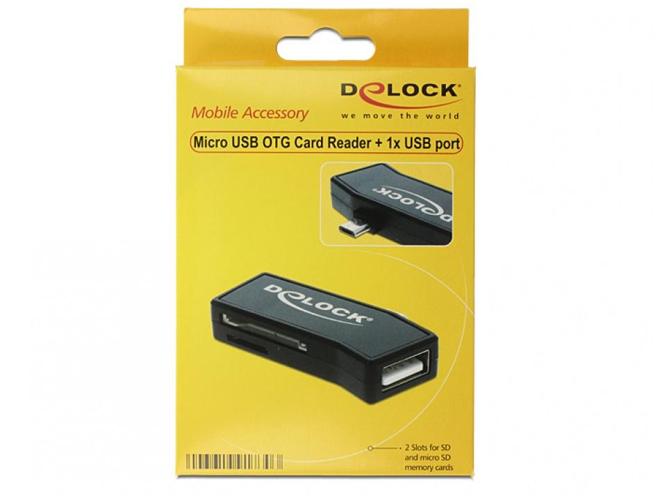 Imagine Cititor de carduri micro USB 2.0 OTG + USB tip A M, Delock 91730
