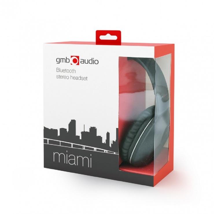 Imagine Casti bluetooth cu microfon Miami Negru, Gembird BHP-MIA