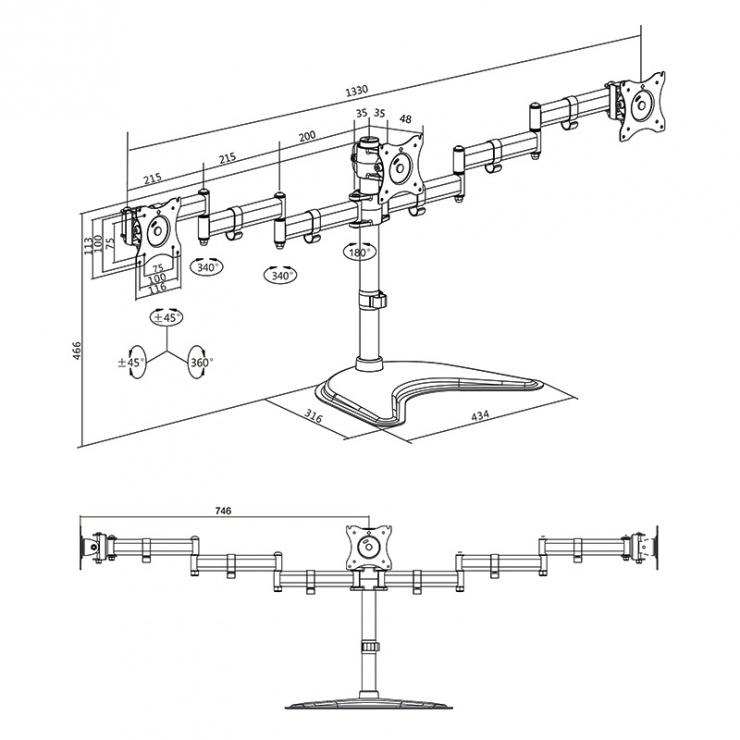 """Imagine Suport masa pentru 3 x monitoare 27"""", Logilink BP0051"""