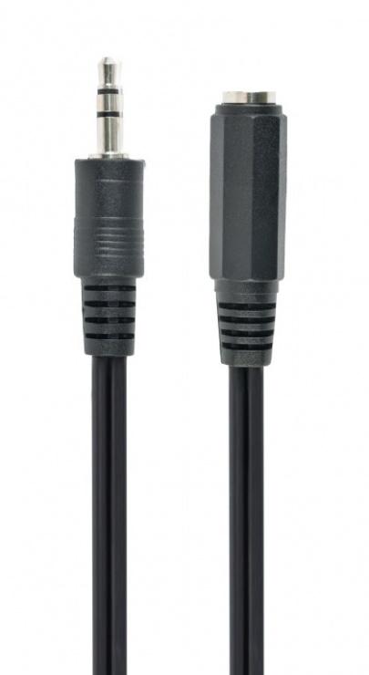 Imagine Cablu prelungitor jack stereo 3.5mm M-T 2m Negru, Gembird CCA-423-2m