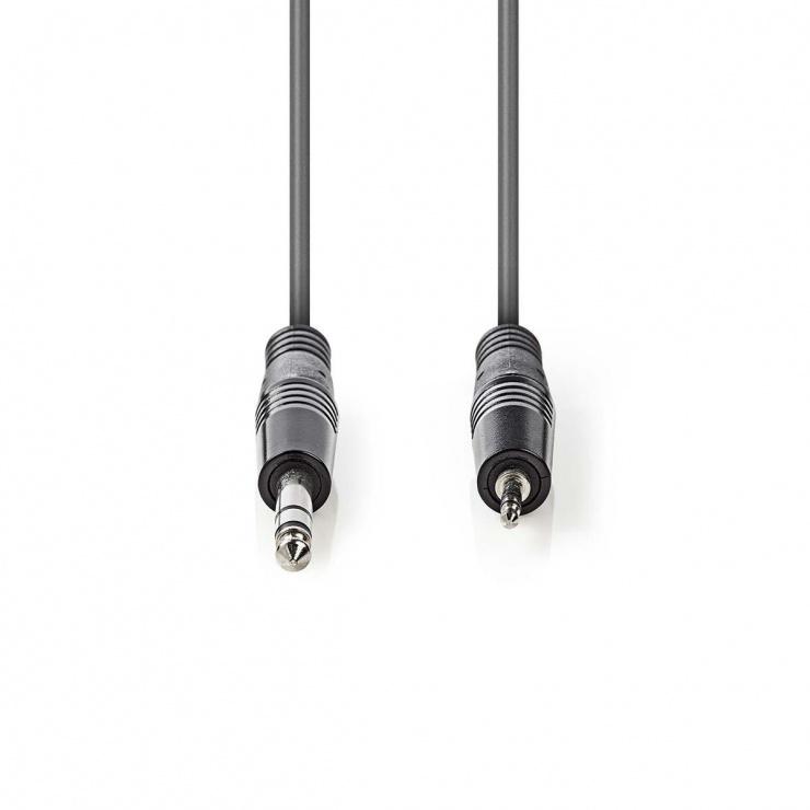 Imagine Cablu audio stereo jack 6.35mm la jack 3.5mm T-T 1.5m Gri, Nedis COTH23205GY15