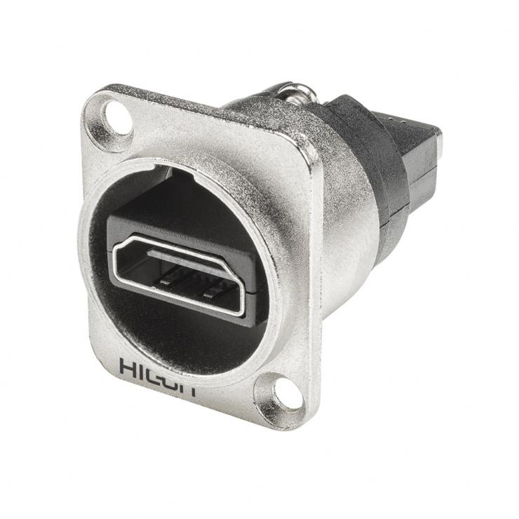 Imagine Conector HDMI-A mama tip D montare masa/panou, HICON HI-HDHD-FFDN