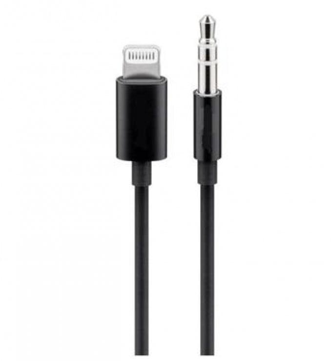 Imagine Cablu Apple Lightning audio la jack 3.5mm T-T 1m Negru, KIPOD50