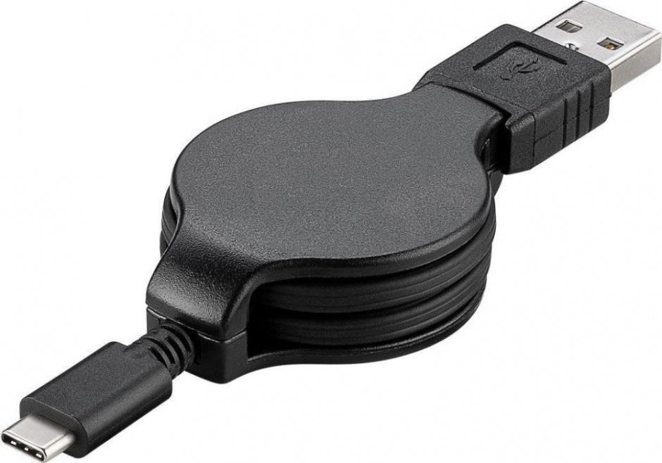 Imagine Cablu USB-C 2.0 T-T retractabil 1m Negru