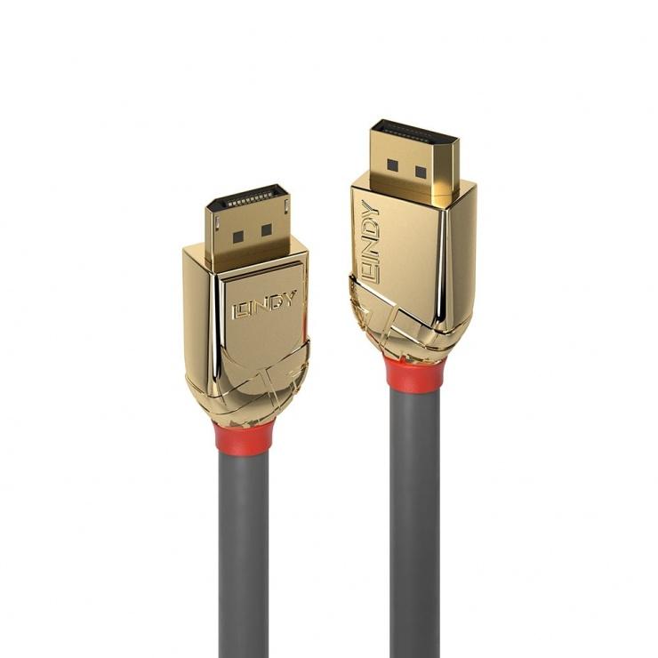 Imagine Cablu Displayport 8K60Hz/4K120Hz UHD (DP certificat) v1.4 T-T Gold Line 0.5m, Lindy L36290