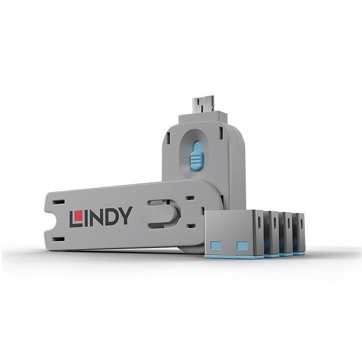 Imagine Sistem de blocare Port USB cheie + 4 incuietori Bleu, Lindy L40452