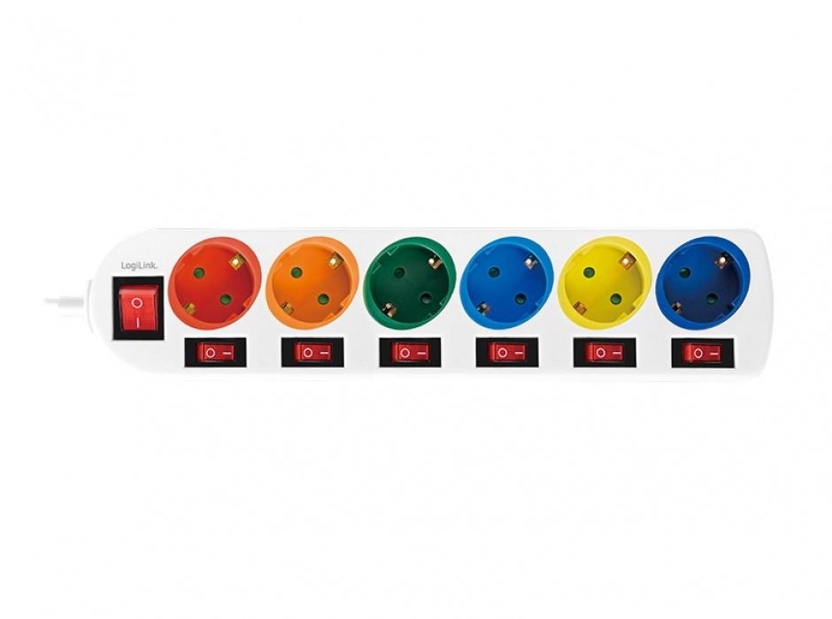 Imagine Prelungitor cu 6 x Schuko + switch On/Off 1.5m, Logilink LPS259