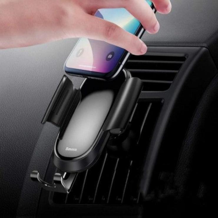 Imagine Suport auto magnetic pentru smartphone cu montare ventilator Argintiu, Baseus FutureGravity