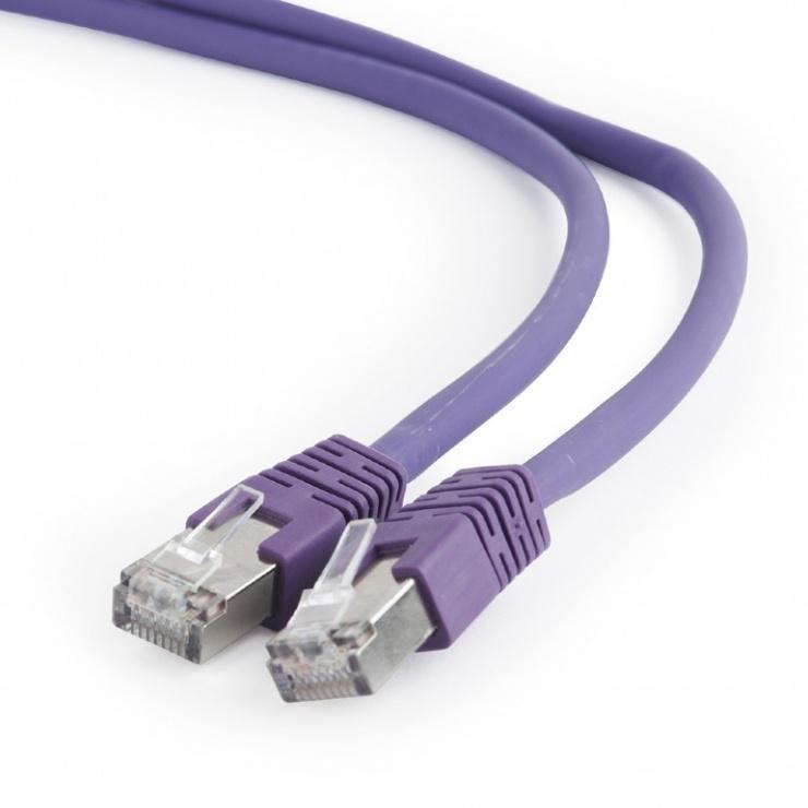Imagine Cablu de retea RJ45 SFTP cat 6A LSOH 0.5m Mov, Gembird PP6A-LSZHCU-V-0.5M