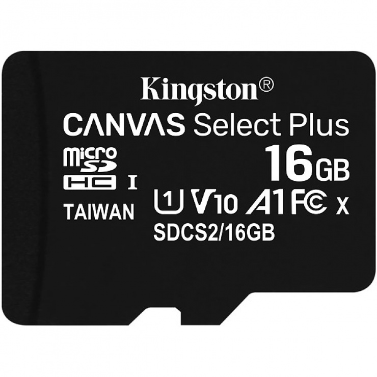 Imagine Card de memorie micro SDHC 16GB clasa 10 Canvas Select Plus, Kingston SDCS2/16GBSP