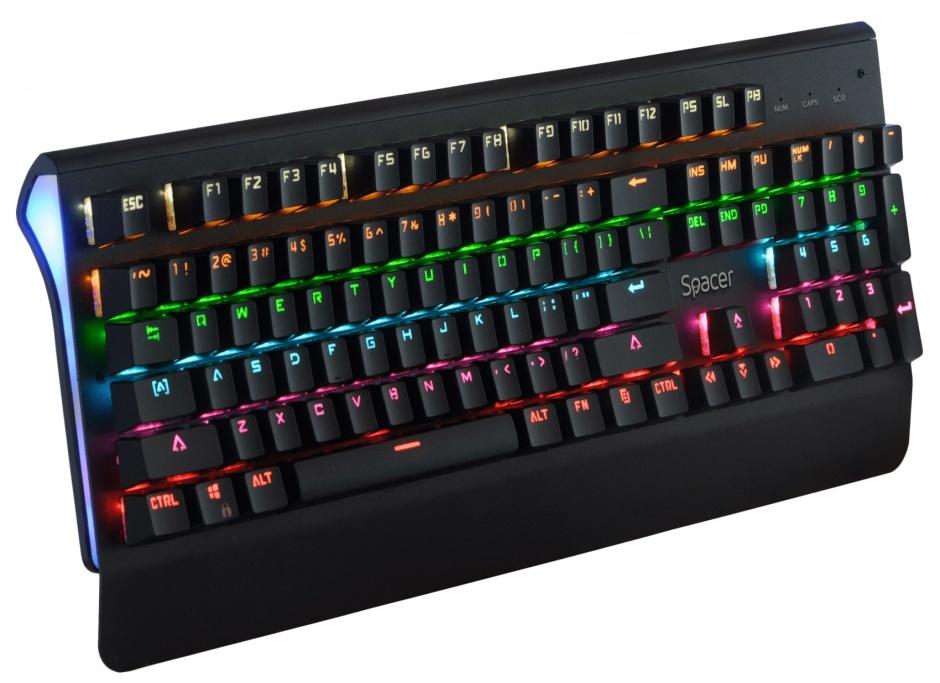Imagine Tastatura mecanica USB anti-spill Negru, Spacer SPKB-MK-01