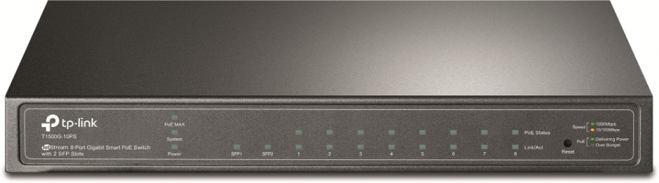 Imagine Switch JetStream 8 porturi Gigabit Smart PoE cu 2 SFP, TP-LINK T1500G-10PS(TL-SG2210P)