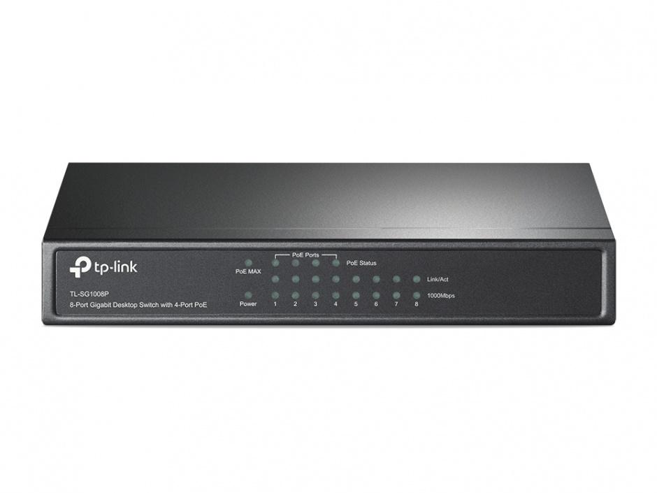 Imagine Switch 8 Porturi Gigabit cu 4 porturi PoE+ carcasa metal, TP-LINK TL-SG1008P