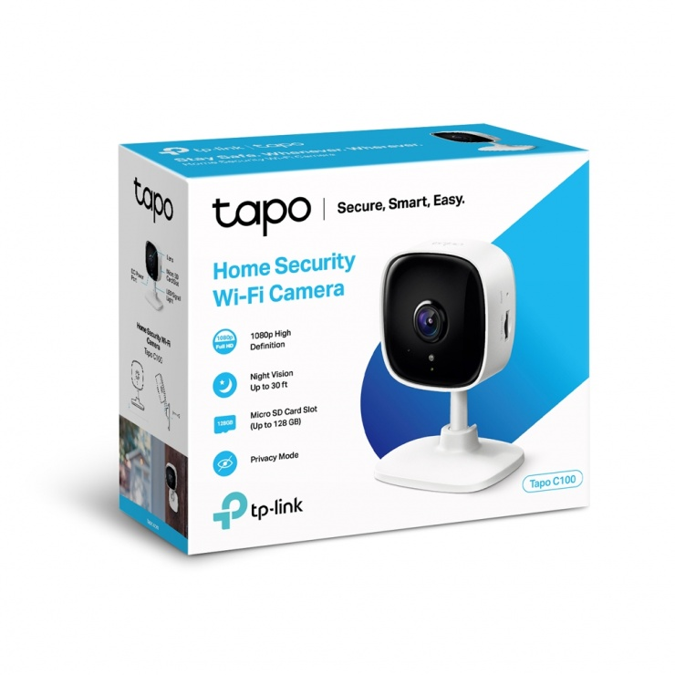 Imagine Camera Wi-Fi de supraveghere, TP-LINK Tapo C100 (include timbru verde 1 leu)