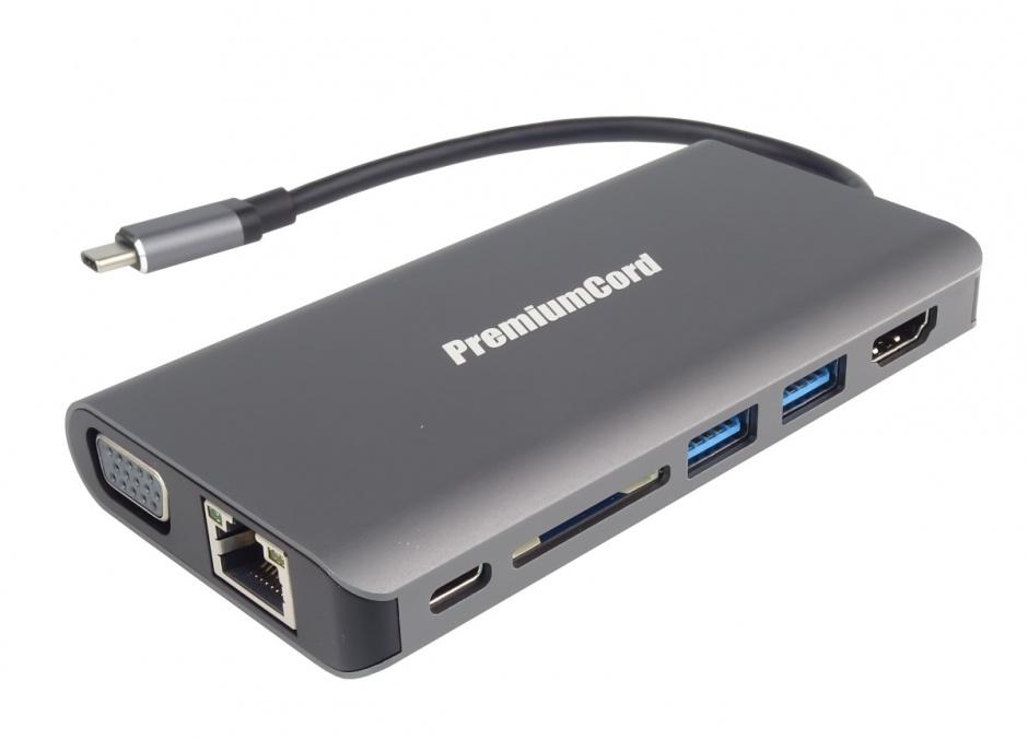 Imagine Docking station USB-C la HDMI + VGA + RJ45 + 2 x USB 3.0 + SD card + jack 3.5mm + PD, KU31DOCK08