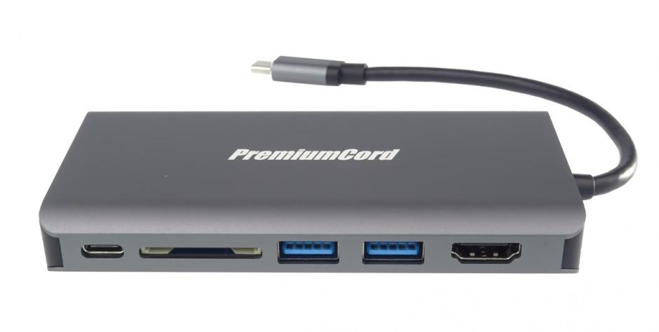 Imagine Docking station USB-C la HDMI + VGA + RJ45 + 2 x USB 3.0 + SD card + jack 3.5mm + PD