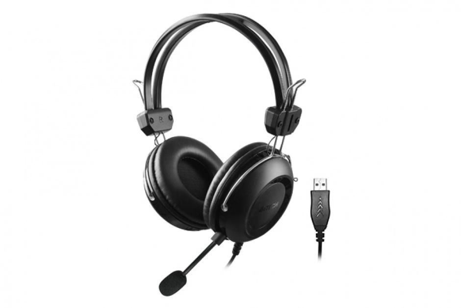 Imagine Casti cu microfon USB 2m Negru, A4TECH HU-35
