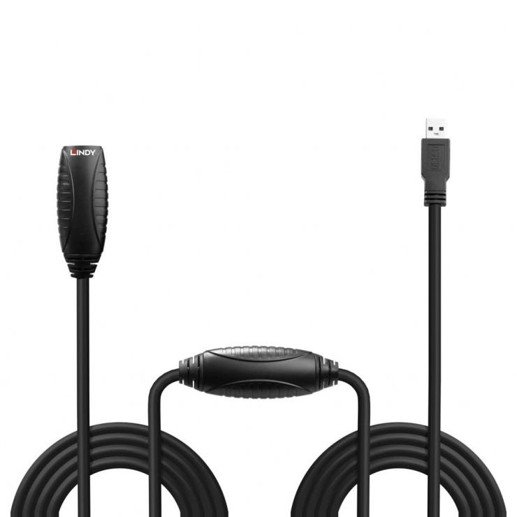 Imagine Cablu prelungitor activ USB 3.0 T-M 15m Negru, Lindy L43099