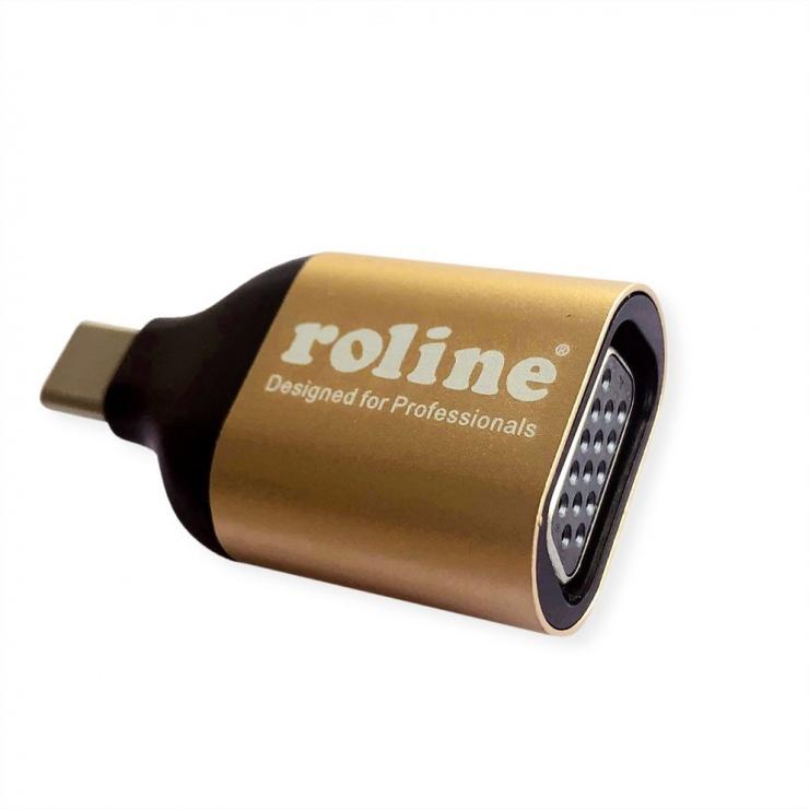 Imagine Adaptor GOLD USB-C la VGA T-M, Roline 12.03.3233