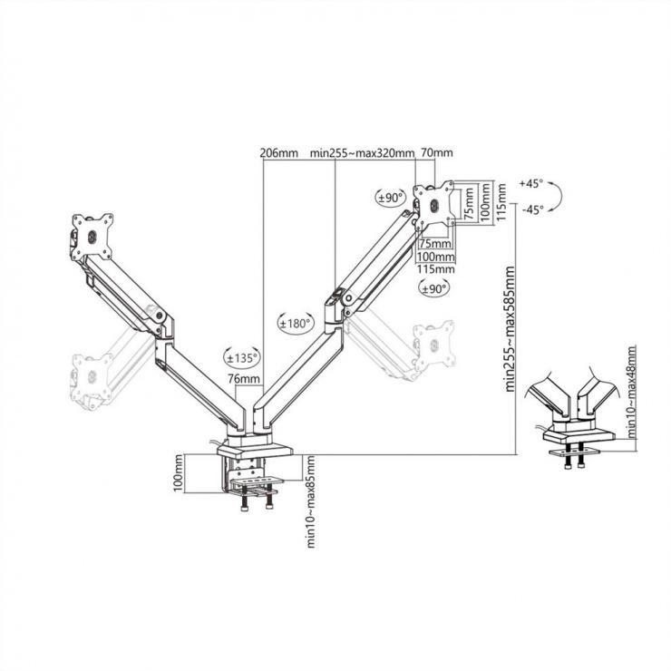Imagine Suport pneumatic masa pentru 2 monitoare max. 15kg, Roline 17.03.1117