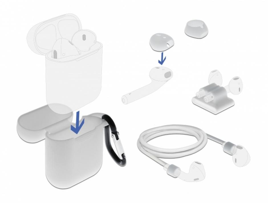 Imagine Set de accesorii pentru Apple AirPods alb, Delock 18351