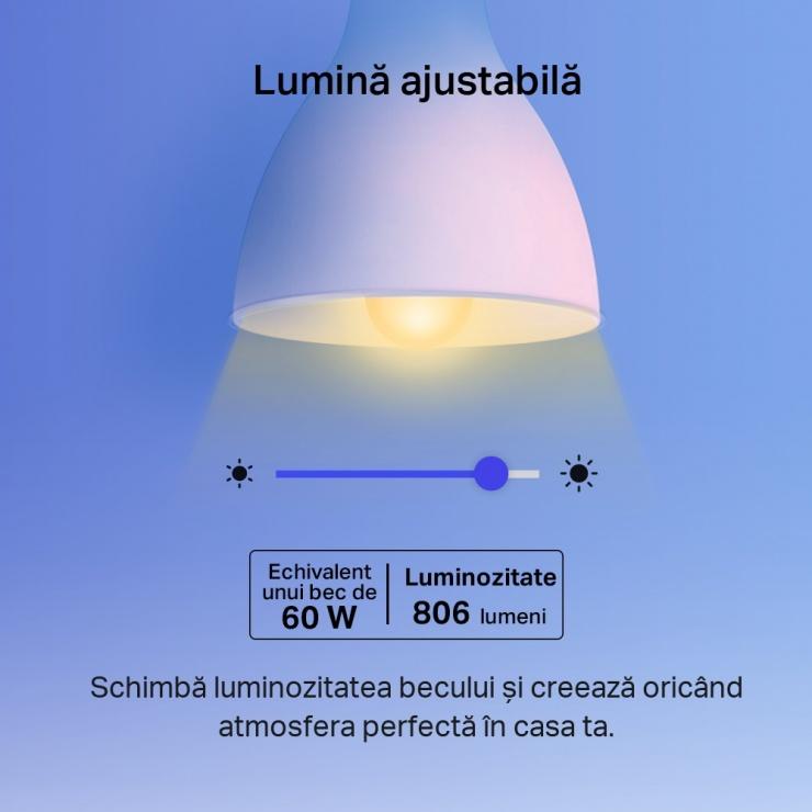 Imagine Bec Wi-Fi inteligent Multicolor E27 8.7W, TP-LINK Tapo L530E