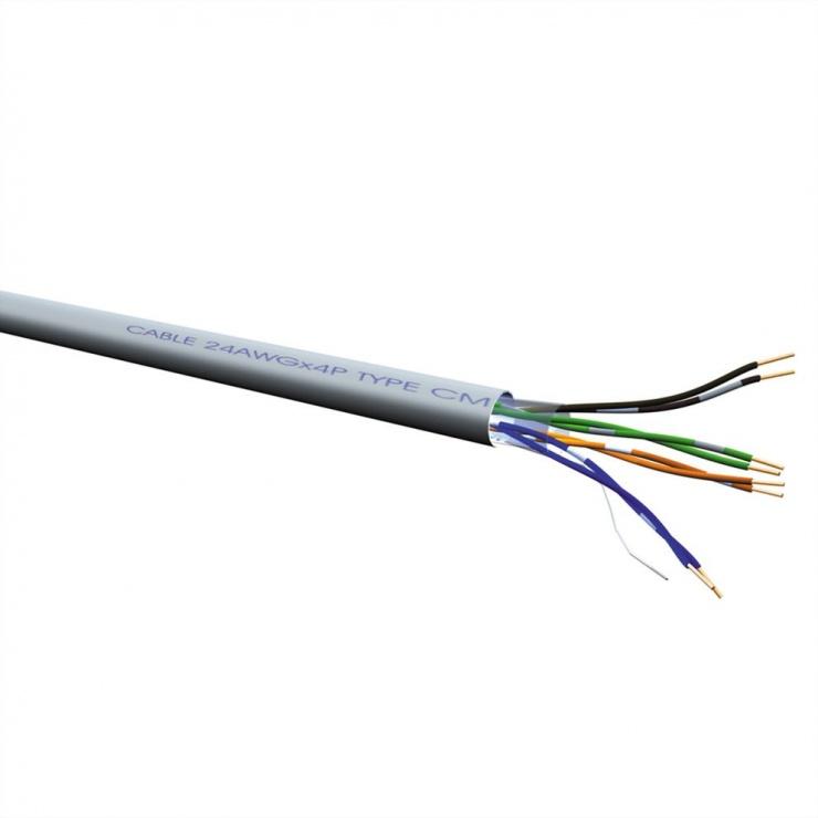 Imagine Rola cablu de retea 100m cat 6 UTP fir solid LSOH Gri, Value 21.99.0996