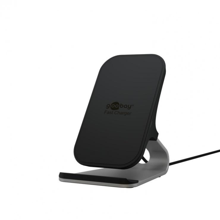 Imagine Incarcator wireless Qi fast si stand 10W, Goobay G52955