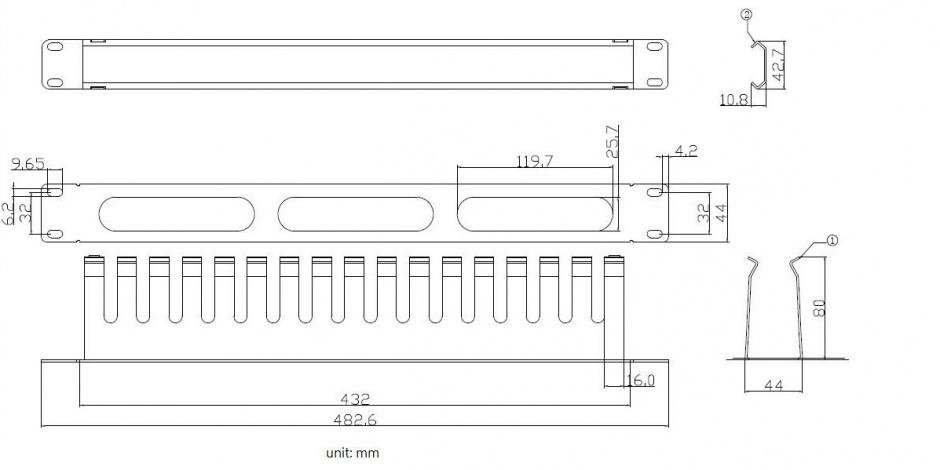 "Imagine Front Panel 19"" 1U cu organizator pentru cabluri 40x80mm RAL7035 Negru, Value 26.99.0306"