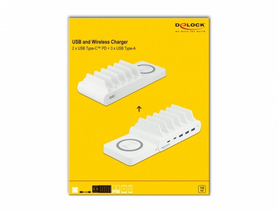 Imagine Incarcator wireless + 2 x USB Type-C PD + 3 x USB-A 110 W, Delock 41450