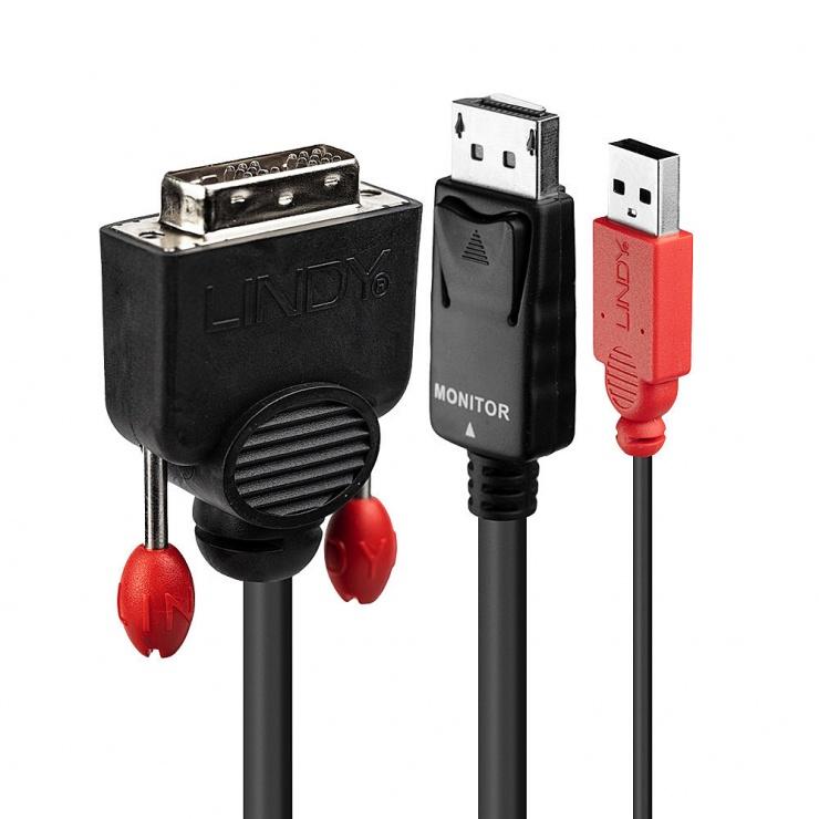 Imagine Cablu DVI-D la Displayport T-T 5m Negru, Lindy L41979