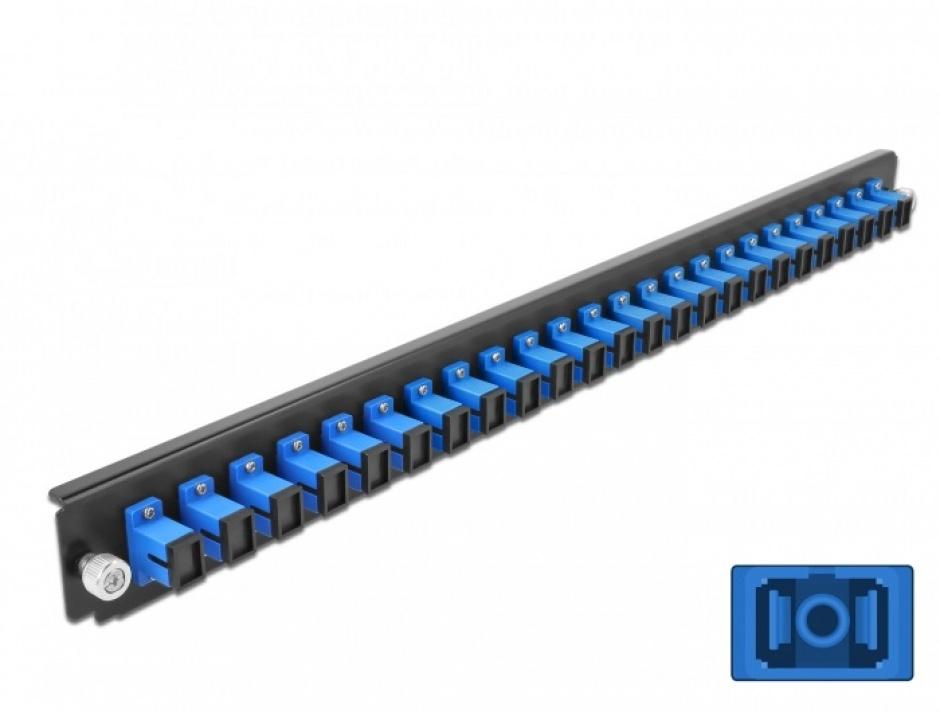 """Imagine Panou 19"""" pentru carcasa 24 porturi SC Simplex OS2 albastru, Delock 43351"""