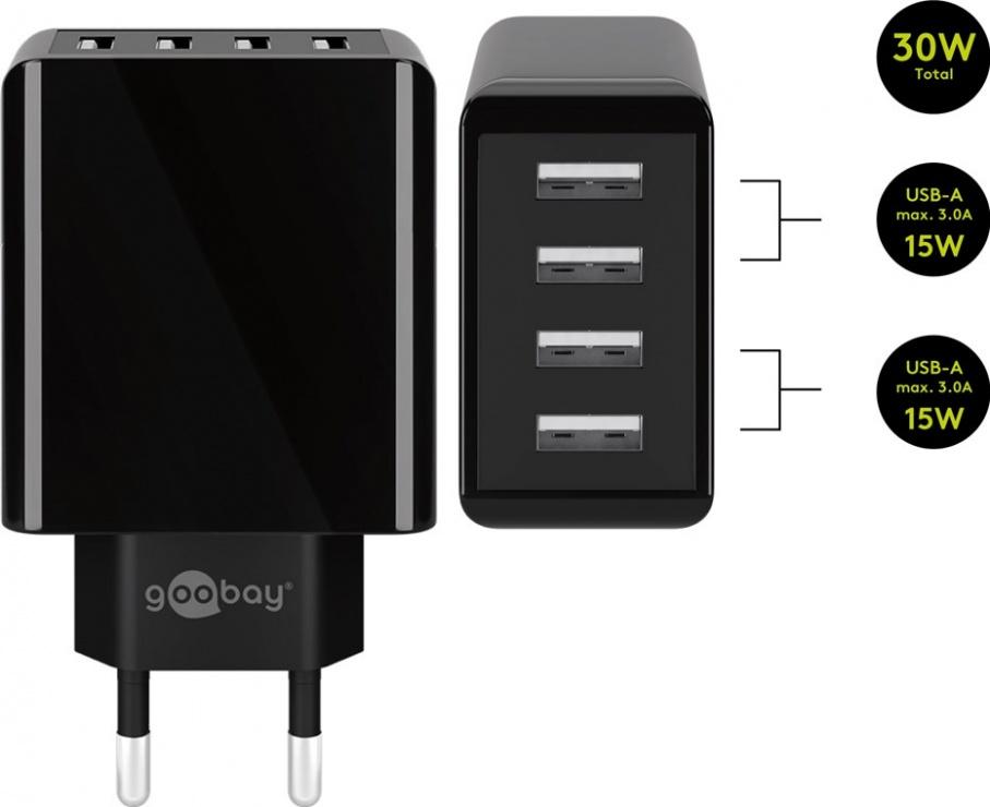 Imagine Incarcator priza 4 x USB-A 3A/30W Negru, Goobay 44953