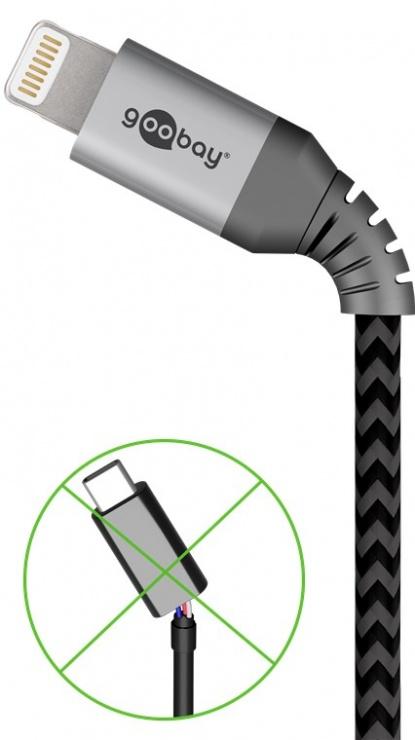 Imagine Cablu de date si incarcare USB la iPhone Lightning T-T 2m, Goobay G49269