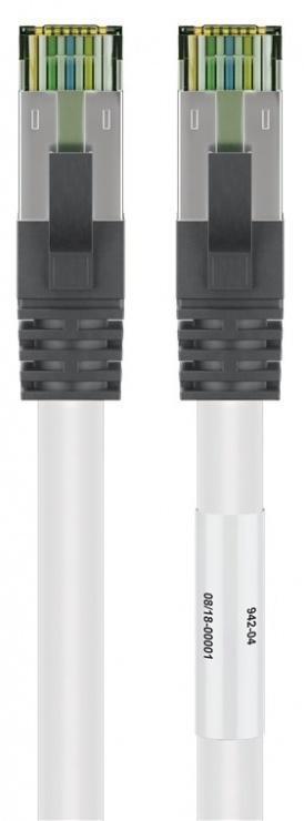 Imagine Cablu de retea RJ45 S/FTP CAT 8.1 cu mufe CAT 6A 15m Alb, Goobay G55130