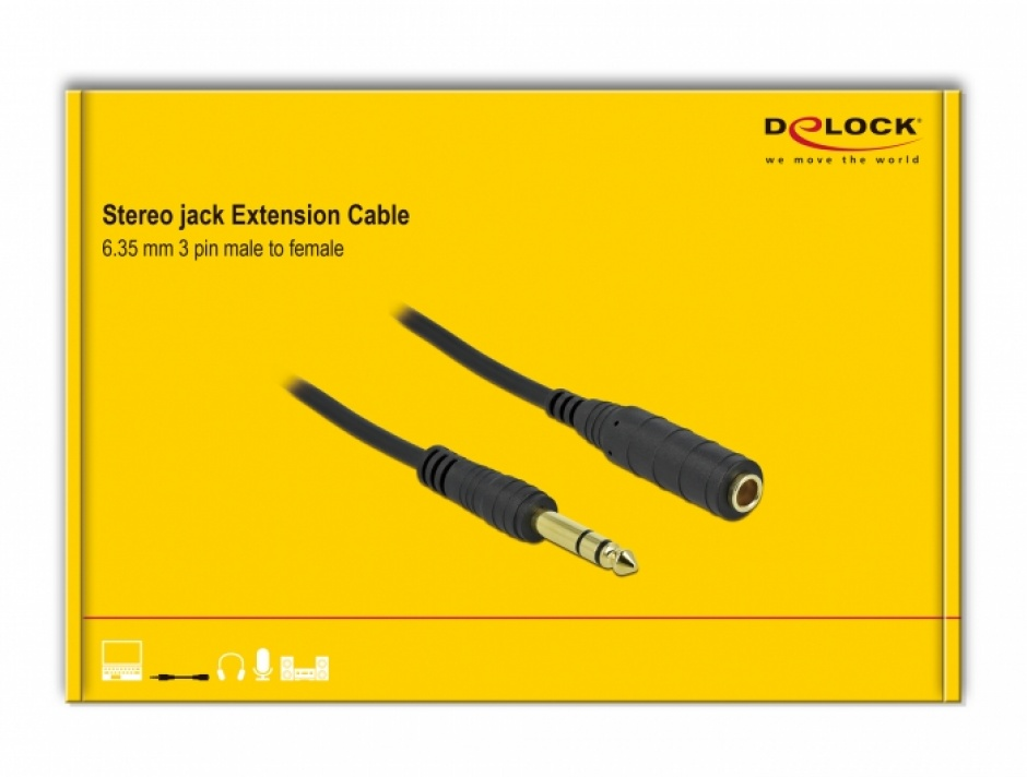 Imagine Cablu prelungitor audio jack stereo 6.3mm 3 pini T-M 10m Negru, Delock 86766