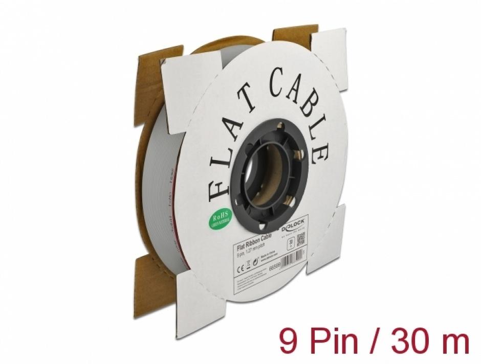 Imagine Cablu plat/flat pentru D-SUB 9 pini/pitch 1.27mm 30m, Delock 66599