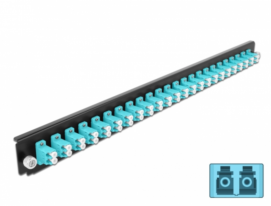 "Imagine Panou 19"" pentru carcasa 24 porturi LC Duplex OM3 aqua, Delock 43360"
