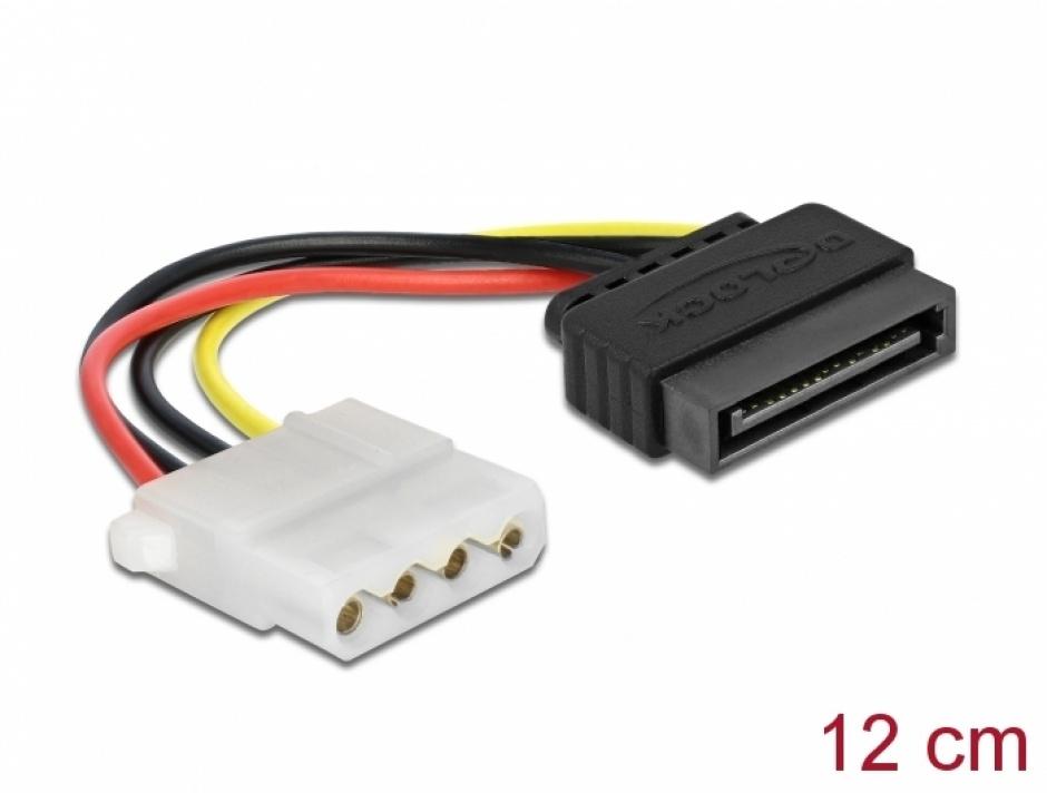 Imagine Cablu alimentare SATA 15 pini la Molex T-M 12cm, Delock 60115