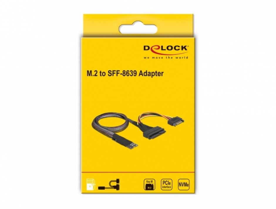 Imagine Adaptor M.2 Key M la U.2 SFF-8639 NVMe + cablu 0.5m, Delock 62984
