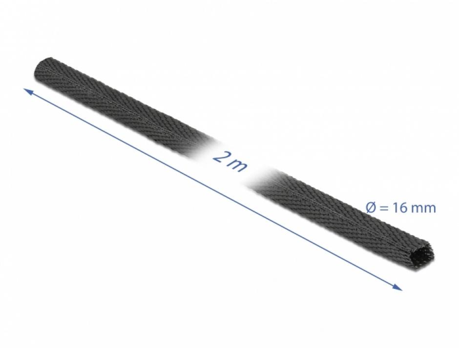 Imagine Tub termocontractabil 2 m x 16 mm raport 2:1 Negru, Delock 20793