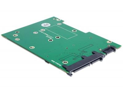 """Imagine Convertor SATA 22 pini + 7 pini la 2 x mSATA frame 3.5"""", Delock 62480-2"""